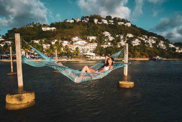 Water Hammock with Resort Background